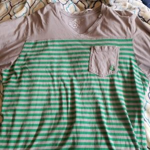 LRG green and gray striped tee-shirt